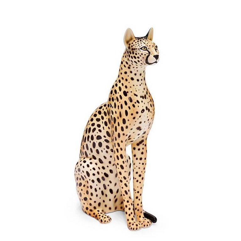 Big Cat Sculpture in Ceramic Gold Painted Black or White or Leopard For Sale 2