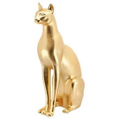 Big Cat Sculpture Ceramic Gold Painted or Black or White or Leopard