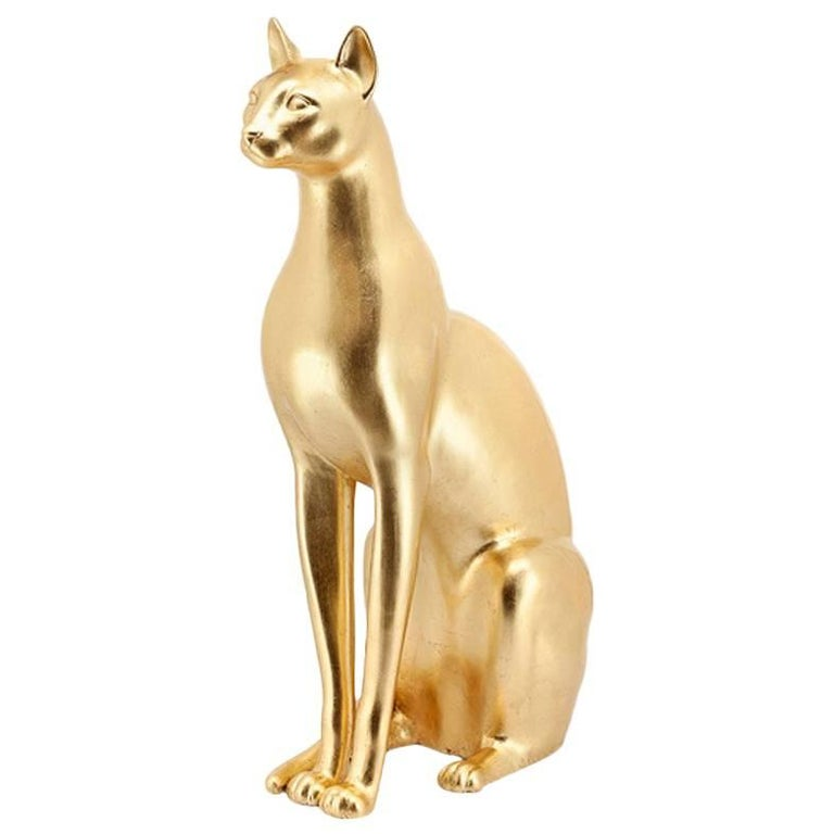 Big Cat Sculpture in Ceramic Gold Painted Black or White or Leopard For Sale