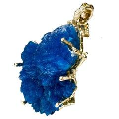 Big Cavansite Crystals Yellow Gold Pendant Azure Blue Raw Uncut Gemstone Healing