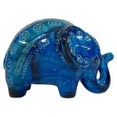 Big Ceramic Elephant from the Rimini Blu Series by Aldo Londi for Bitossi