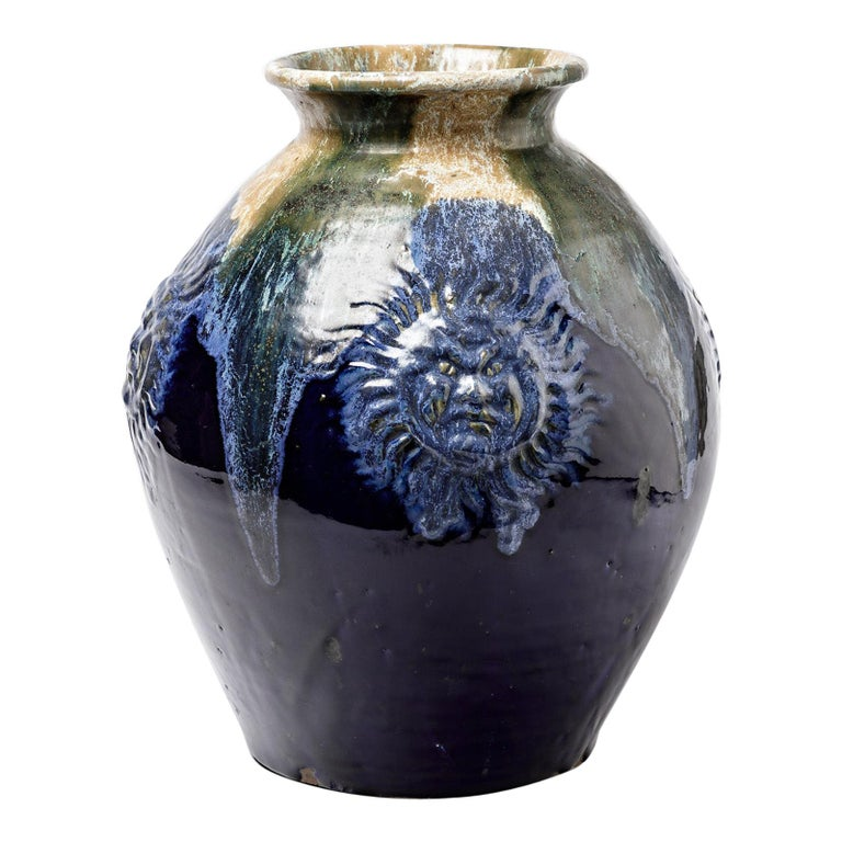 Big Ceramic Vase with Blue Glazes Decoration by Lucien Arnaud, circa 1920 For Sale