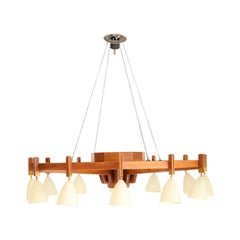Big Chandelier Midcentury Italian Attributed to Studio BBPR in Wood, 1950s