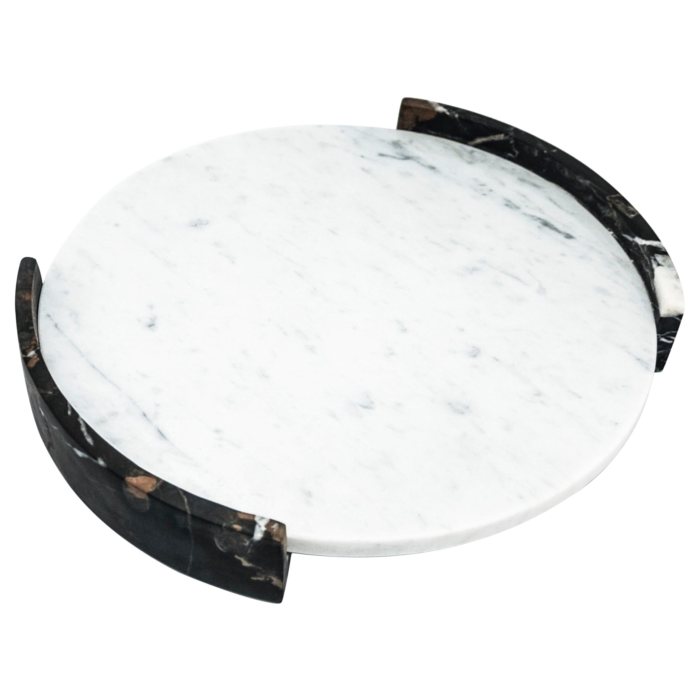 Big Circular Triptych Tray in White Carrara Marble