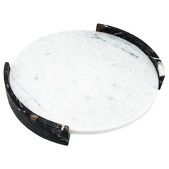 Big Circular Triptych Tray in White Carrara Marble