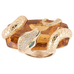 Big Citrine Diamond Emerald Gold Snake Ring