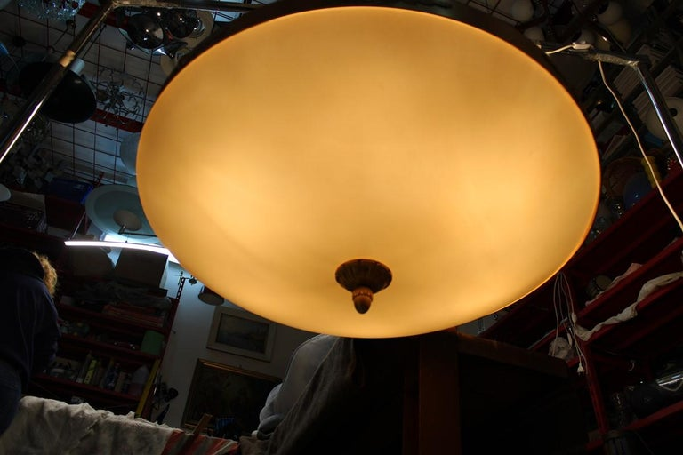 Big Classic Round Italian Chandelier Brass Gold Yellow Glass Italian Design 1970 For Sale 13