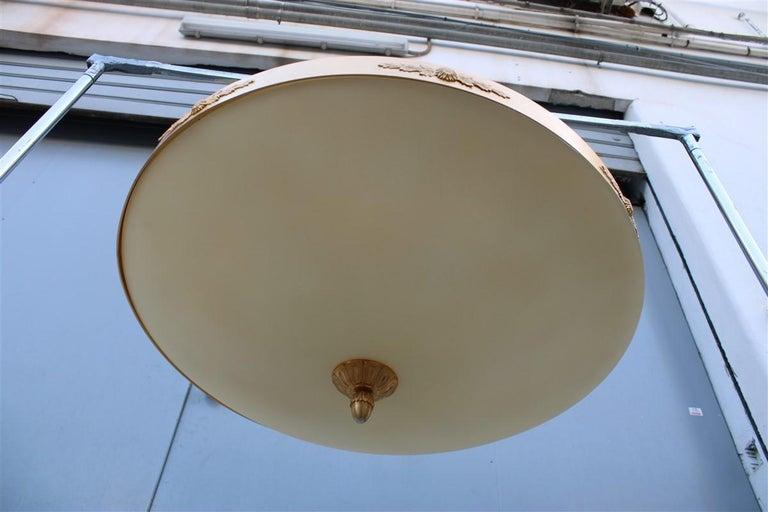 Big classic round Italian chandelier brass gold yellow glass Italian design 1970. 6 light bulbs max 80 was each.