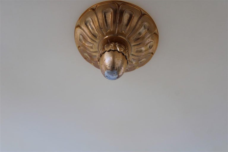 Mid-Century Modern Big Classic Round Italian Chandelier Brass Gold Yellow Glass Italian Design 1970 For Sale