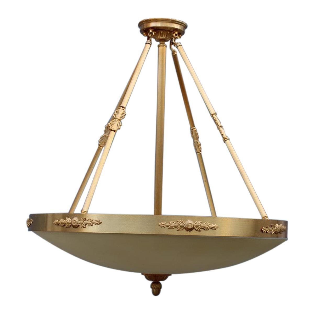 Big Classic Round Italian Chandelier Brass Gold Yellow Glass Italian Design 1970