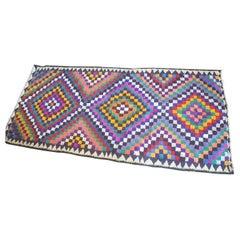 Big Colorful Vintage Carpet, Boho Style Rug, Similar to Kilim