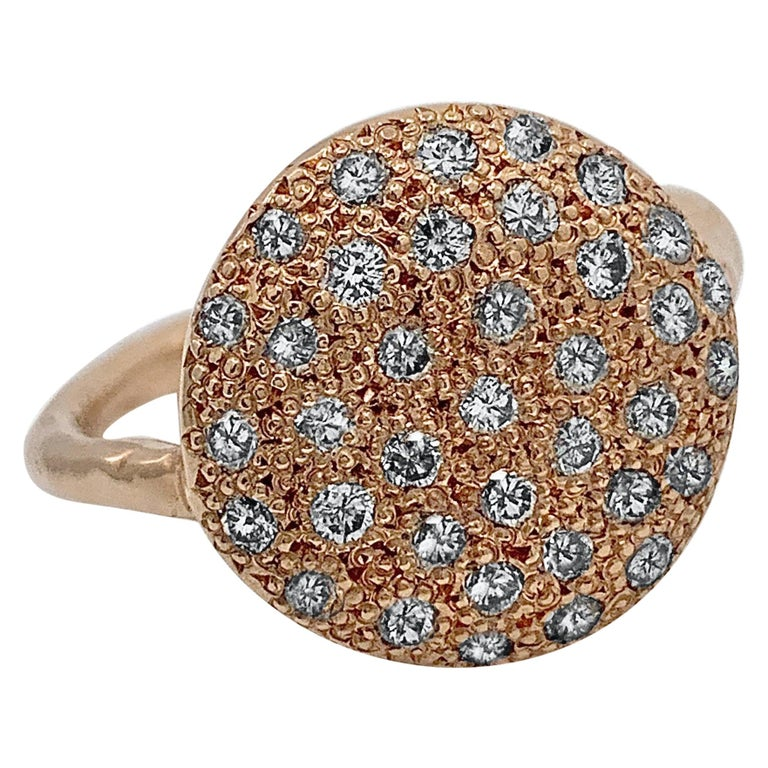 """""""Big Cookie"""" Pavé Diamond Slab Ring in Rose Gold For Sale"""
