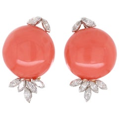 Big Coral and Diamond Earclips