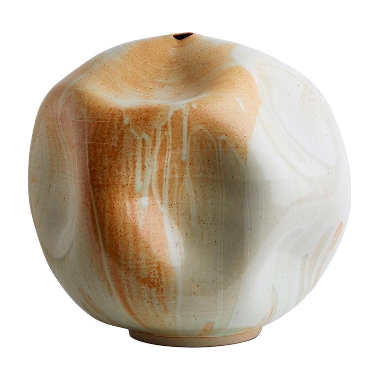 Large Sand Stone Handmade Ceramic Interior Sculpture Wabi Sabi Midcentury For Sale