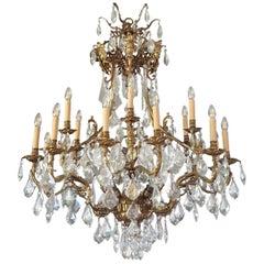 Großer Kristall und Messing Kronleuchter, Antike Deckenlampe Lustre, Jugendstil, Groß