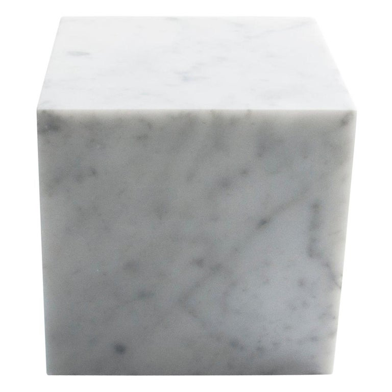 Big Decorative Paperweight Cube In White Carrara Marble