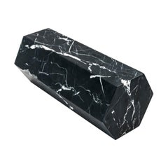 Big Decorative Prism / Bookend in Black Marquina Marble Full