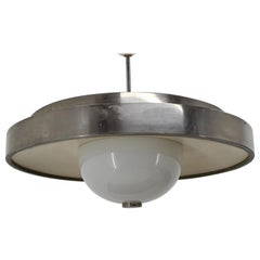 BIG Design Bauhaus Chrome UFO Pendant, 1930s / Czechoslovakia, Functionalism