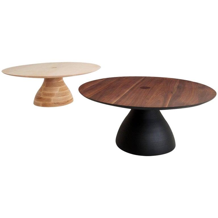 Diz Modern Sculptural Handcrafted Walnut And Black Ash Coffee Table 36 D