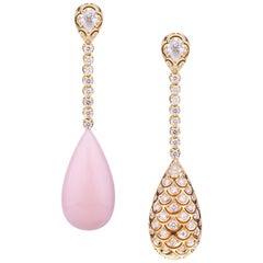 Big Double Face Pink Opal Diamonds Drop with Pear Cut Diamonds Evening Earrings