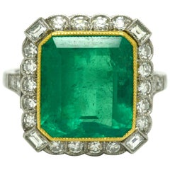 Big Emerald Diamond Halo Cocktail Engagement Ring Platinum 2-Tone Art Deco Style