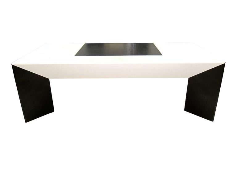 Big Executive Desk designed by Cini Boeri for Rosenthal in 1981 (series Prisma XL)  Very futurist extraordinary design. Extremely stable, but appears light in the interior. Conical bases, plate with integrated drawer and black leather writing