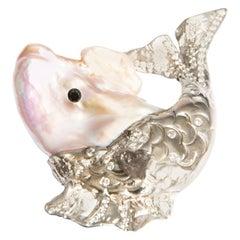 Big Fish, Cultured Pearl, Black and White Diamonds in White Gold 18 Karat Brooch
