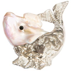 Big Fish, Cultured Pearl, Black and White Diamonds in White Gold 18 Karat Brooch