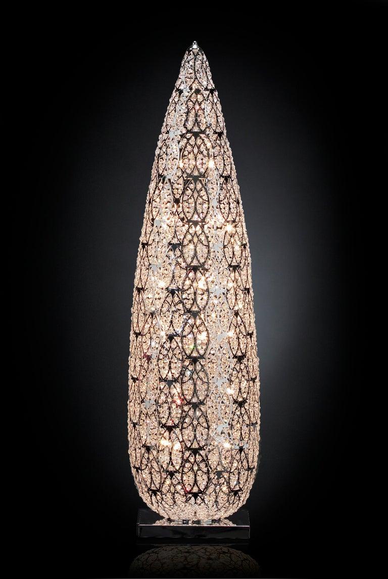 Italian Big Flame Floor Lamp, Chrome Finish, Arabesque Style, Italy For Sale