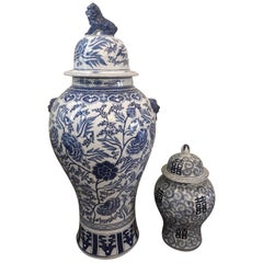 Big Floor 20th Century Blue and White Chinese Porcelain Vases