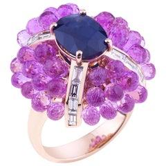 Big Flower Ring Gold Oval Blue Sapphire, Pink Sapphires, Baguette Diamonds