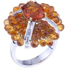 Big Flower Ring Gold, Oval Mandarin Granat, Orange Sapphires, Baguette Diamonds