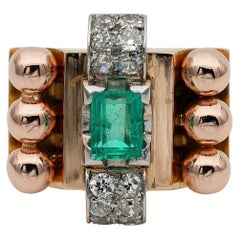 Big French Colombian Emerald Diamond Retro Cocktail Ring