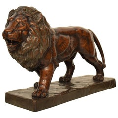 Big German Art Deco Lion Sculpture in Ceramic, Terracotta Copper, 1930