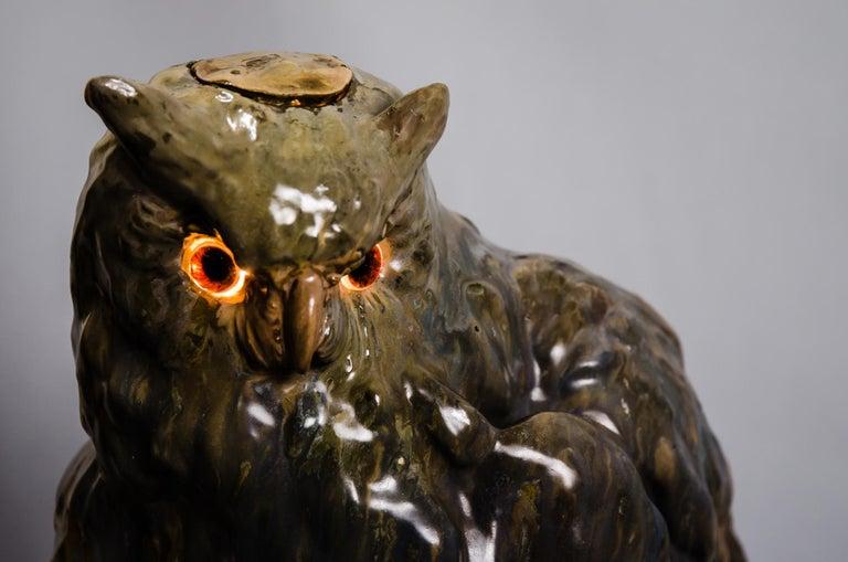 Big Ceramic Golscheider Owl Lamp  7