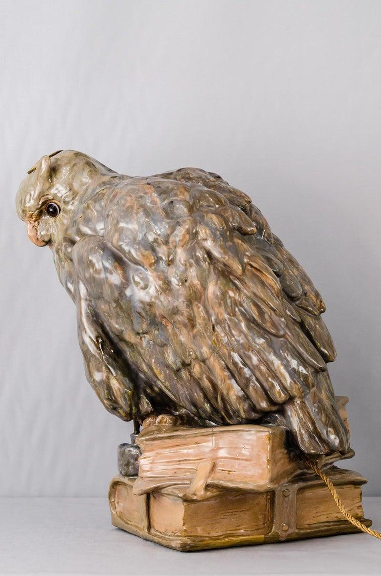 Austrian Big Ceramic Golscheider Owl Lamp