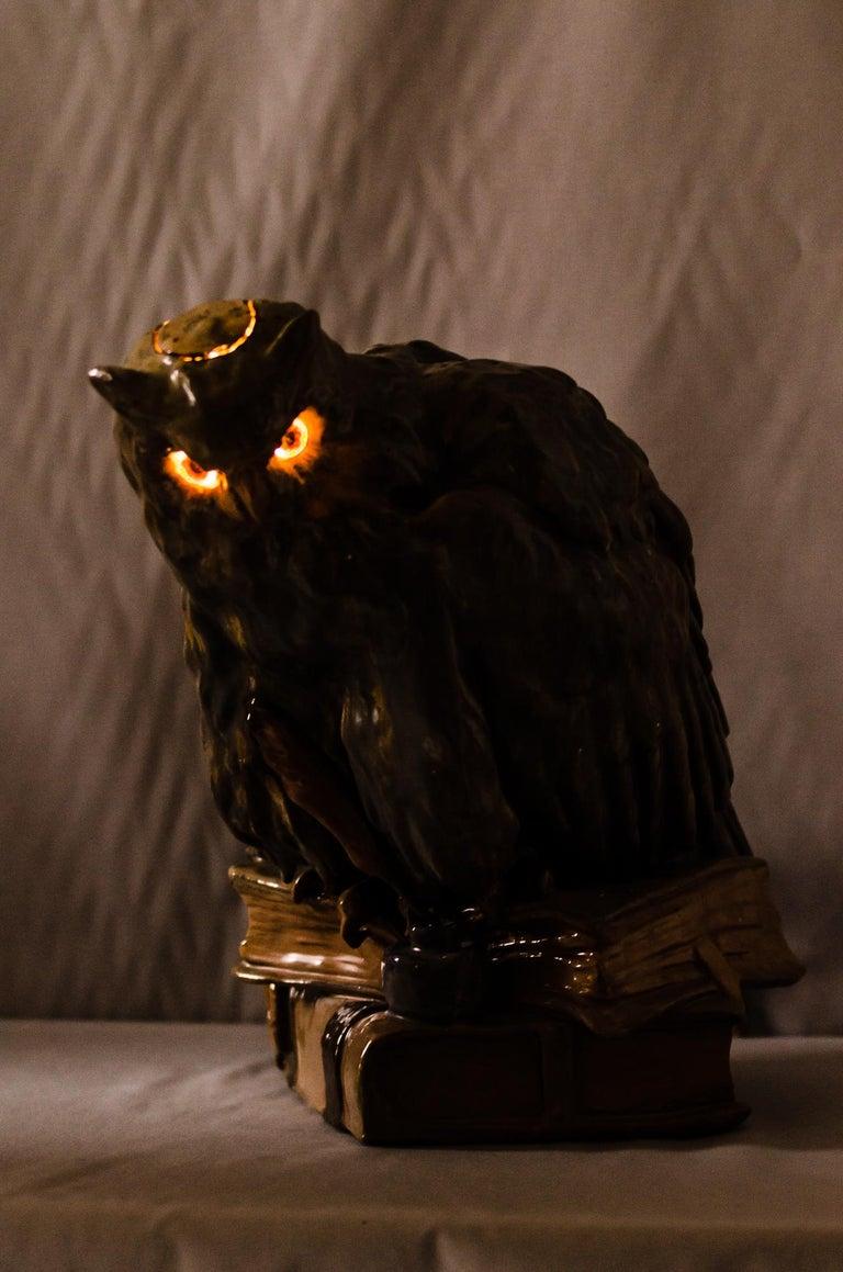 Big Ceramic Golscheider Owl Lamp  In Good Condition In Wien, AT