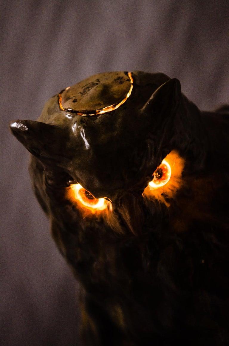 Early 20th Century Big Ceramic Golscheider Owl Lamp