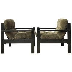 Big Grey/ Brown/ Black Vintage Armchairs, 1960s, Pair