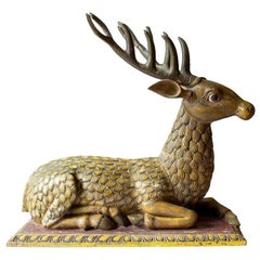 Big Hand Carved Painted Stag Sculpture in Wood, Early 18th Century