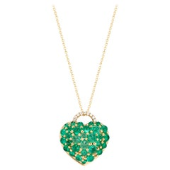 Big Heart Emerald Cabochon and Diamond Pendant Necklace