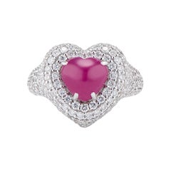Big Heart Ruby Cabochon and Diamond Pinky Ring