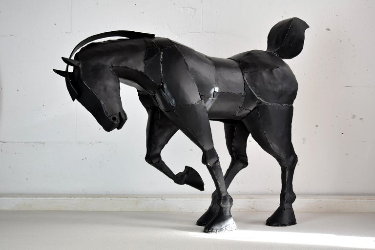 Big Iron Horse Sculpture by Lida Boonstra, 1998 In Good Condition For Sale In Weesp, NL