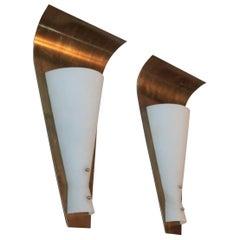 Big Italian Brass Sconces 1950s Glass Opalino Arredoluce Style