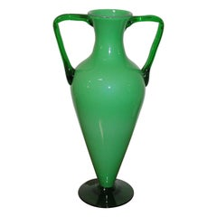 Big Italian Green Vase Glass 1970s in the Style of Venini