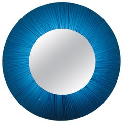 Big Italian Round Illuminated Mirror 1970s Artglass Cristal Art Style