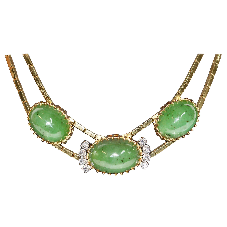 Big Jade Necklace, 18 Karat Gold with Diamonds