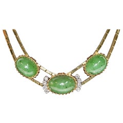 Big Jade Necklace, 18 Karat Gold with Diamonds