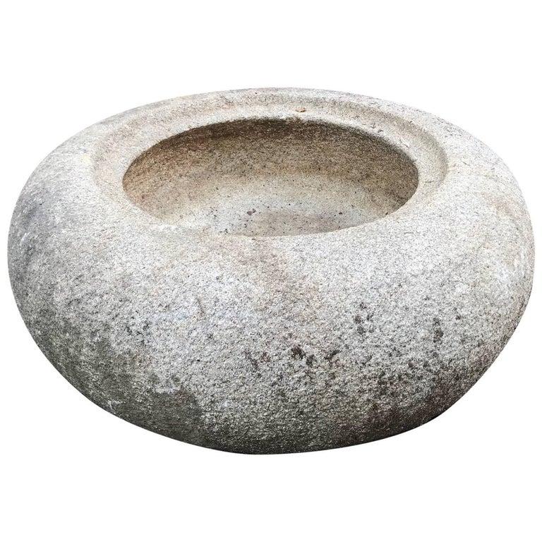 "Big Japanese Antique Round Smooth ""Donut"" Stone Water Basin Planter Tsukubai For Sale"
