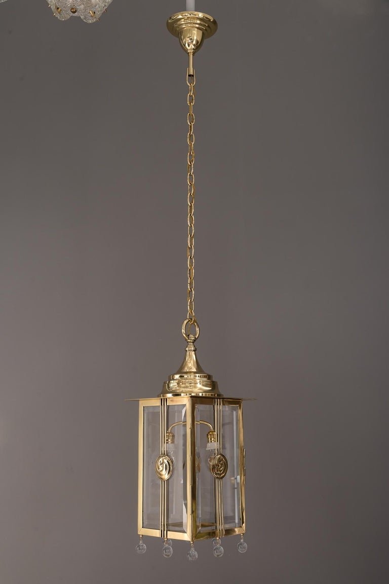 Early 20th Century Big Jugendstil Pendant with Cut Glasses, circa 1910s For Sale